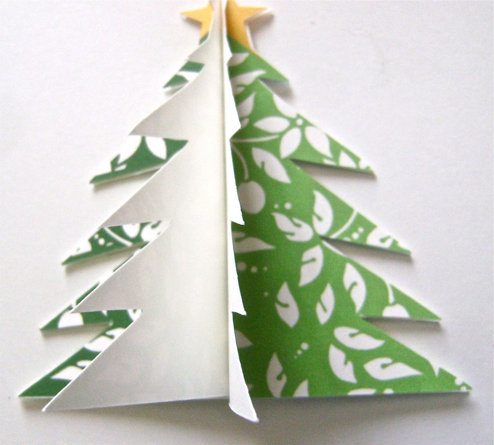 step 6 - Glue the two halves of tree two and three to each other to complete a free standing tree.