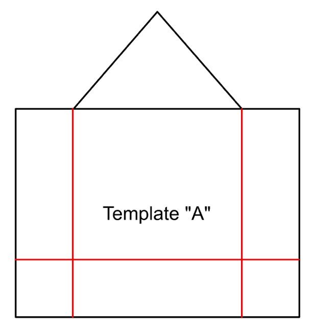 "step 2 -  House # 1 & 2  - Use Template ""A"" to cut a house from light cardboard. Fold the cardboard on the red lines to create side walls and a bottom for the birdhouse. For variety, change the height of some of the houses in your collection by moving up the horizontal red line."