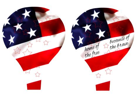 "step 1 - Note that there are two different designs for the balloon panels. One includes the words ""home of the free because of the brave"". The other has no words."