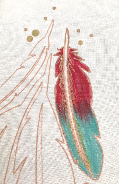 step 11 - Paint half way up each feather staying inside the sketch lines. Allow the turquoise to dry then paint the top portion of the feather with red paint, overlapping the turquoise in irregular strokes. Create jagged strokes with the gold sketch pen down the center of the feathers.