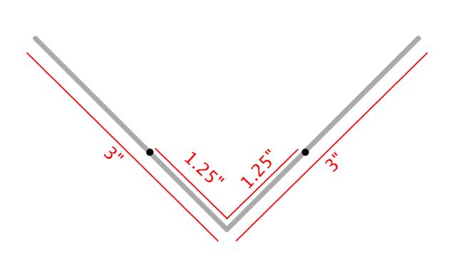 """step 2 - To make the frame, crate a 90-degree angle in the wire's center. With a Sharpie, make a mark at 1.25"""" from the center on both 3"""" lengths."""