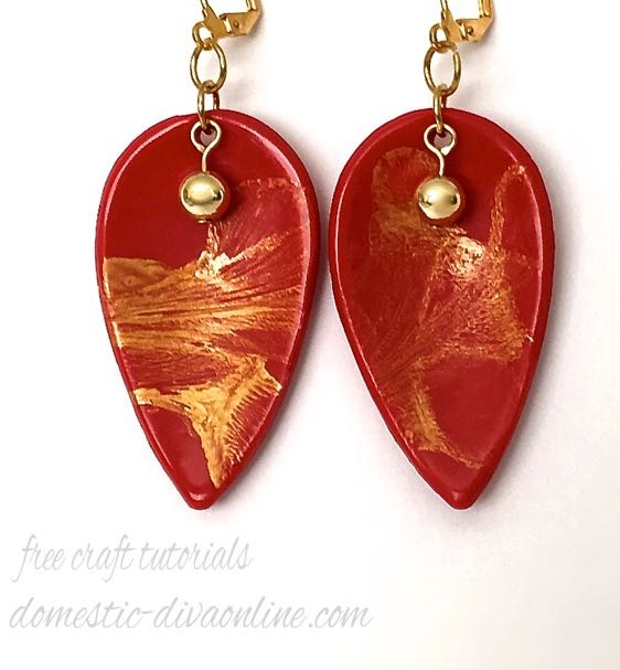 Pomegranate Premo Clay with Gold Acrylic Airbrush Paint  Earrings measure 1.75'