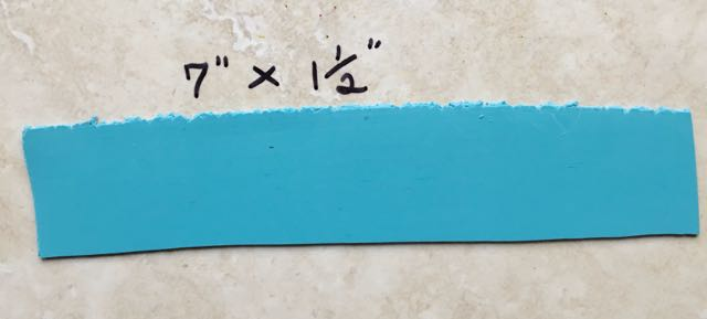 """step 1 - Roll out two strips of Turquoise clay on the #3 setting of the conditioning machine. Each should measure approximately 7"""" x 1.50""""."""