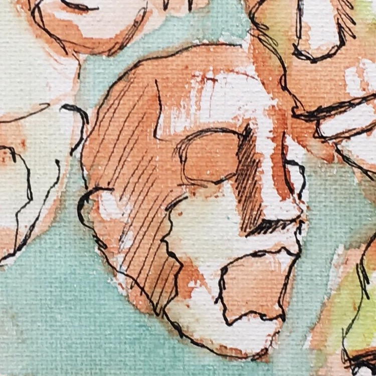 watercolor and ink, detail