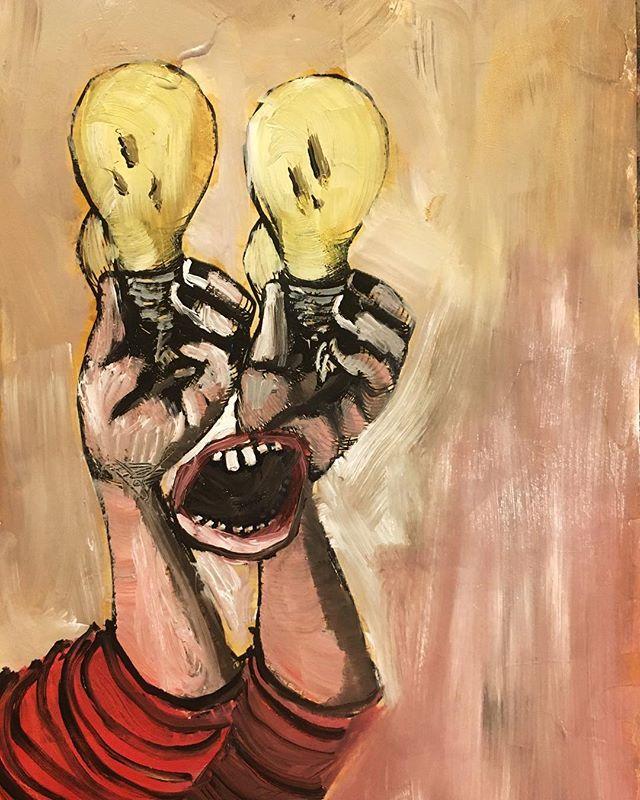 💡💡 __  __  _  _  __  __  _  _  __  __  __  #art #artistsoninstagram #artistsofinstagram #artistic #artistatwork #curiousities #oddity #oilpainting #oilpaint #painting #shellac #contemporarysculpture #contemporaryartwork #contemporarypainting #newcontemporary #sculptor #sculpture #illustration #artwork #oilonpaper #directpainting #creepy #creepyartwork #bostonart #bostonartist #brianhuntress 🌙🌙🌙