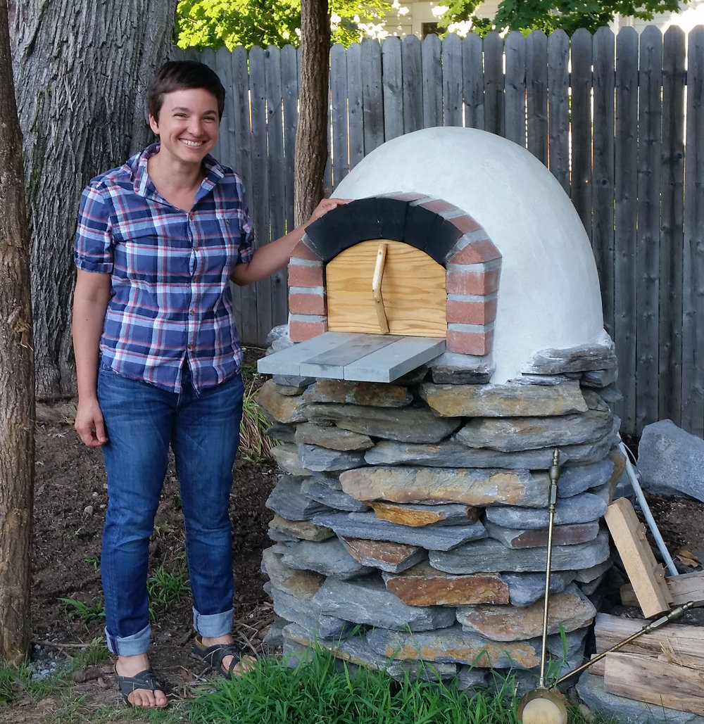 Oven with a stone base