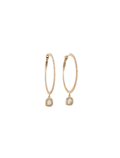 a6791ecc40512f 14KT Rose Gold Micro Pave 1in. Diamond Hoops with Diamond Slice Drop ...