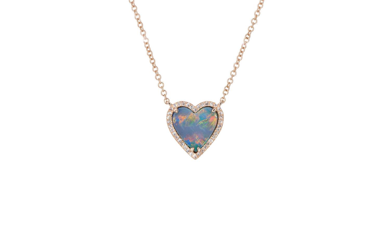 14kt rose gold and diamond pave opal heart pendant andrea 14kt rose gold and diamond pave opal heart pendant aloadofball Choice Image