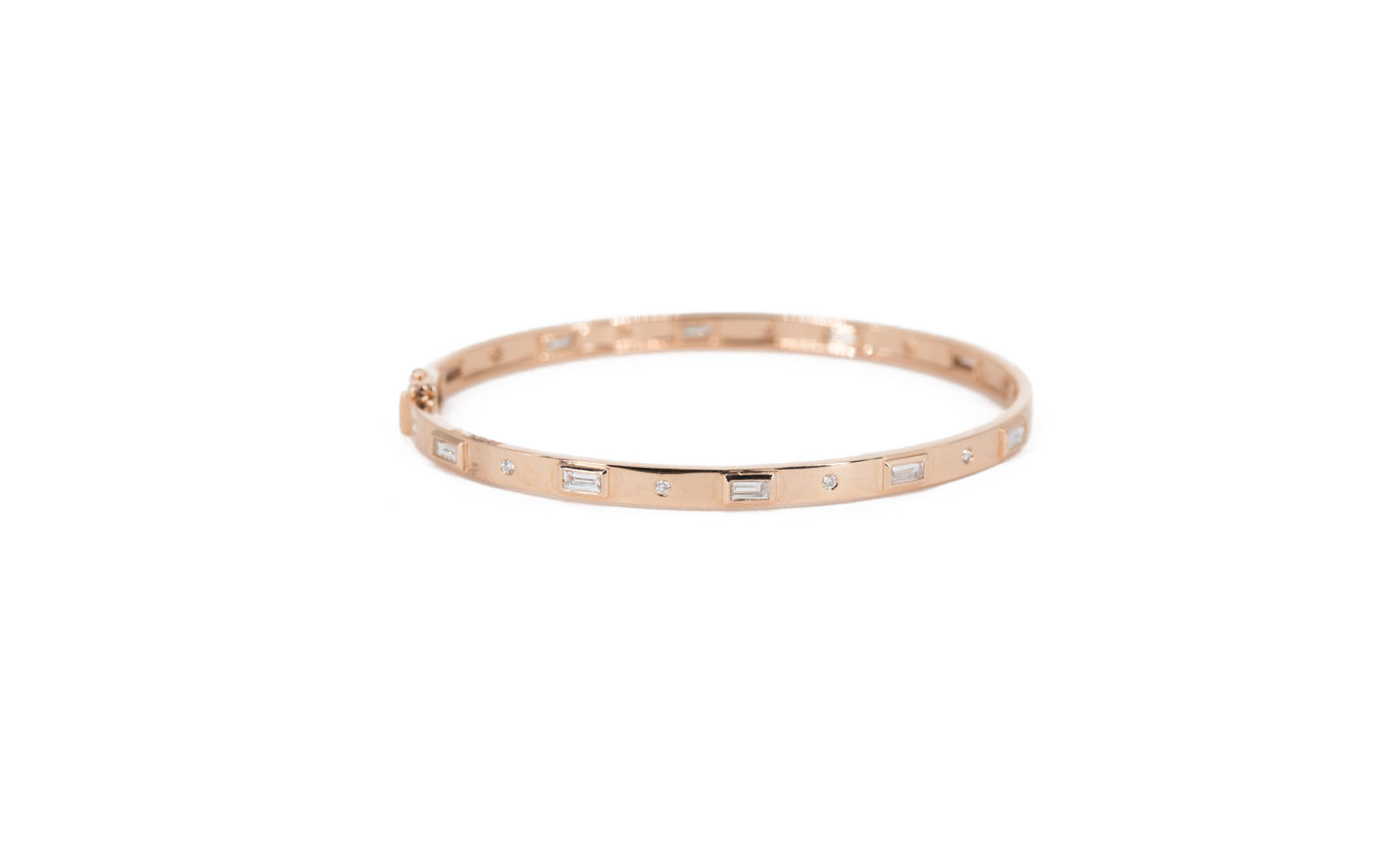 13d375a3b8023 14KT Rose Gold Baguette and Diamond Bangle