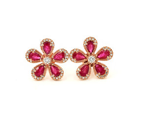 1e6d99d58 14KT Rose Gold Diamond Pave And Ruby Flower Stud Earrings ...