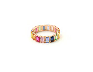 0c6b94370c 14KT Rose Gold Multi Color Sapphire And Diamond Band