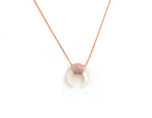 1c9556466f0820 14k Rose Gold, Mother of Pearl and Diamond Pave Horn Necklace