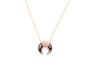 23125e31607e63 14k Rose Gold Diamond Pave and Black Mother of Pearl Horn Necklace