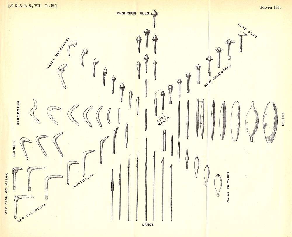 An image from Pitt-Rivers' 1875 book On The Evolution Of Culture, showing the gradual accumulation, modification and diversification of cultural artifacts over time