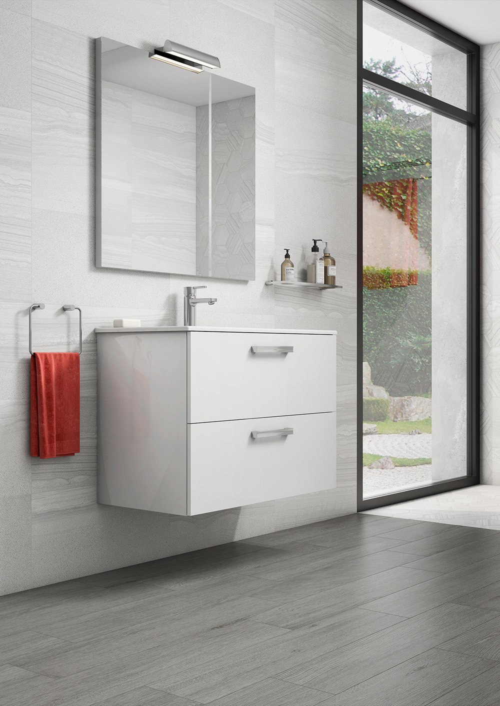 ASTER WALL-MOUNT VANITY WITH DRAWERS GLOSS WHITE - Finish: High gloss white lacqueredWall-mounted24