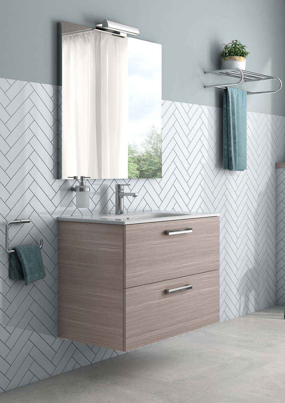 ASTER WALL-MOUNT VANITY WITH DRAWERS GREY WOOD VENEER - Finish: Textured MelamineDesign: Grey Wood VeneerWall-mounted24