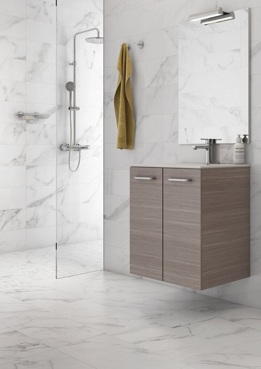 ASTER WALL-MOUNT VANITY WITH DOORS  GREY WOOD VENEER  - Finish: Textured MelamineDesign: Grey Wood VeneerWall-mounted24