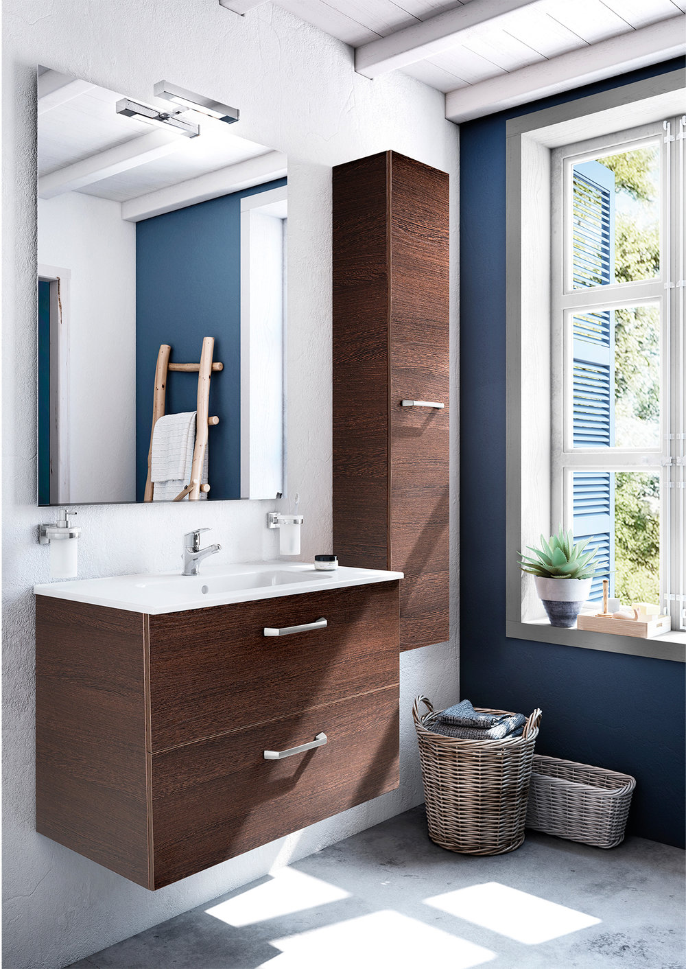 ASTER WALL-MOUNT VANITY WITH DRAWERS CEDAR WOOD VENEER - Finish: Textured MelamineDesign: Cedar Wood VeneerWall-mounted24