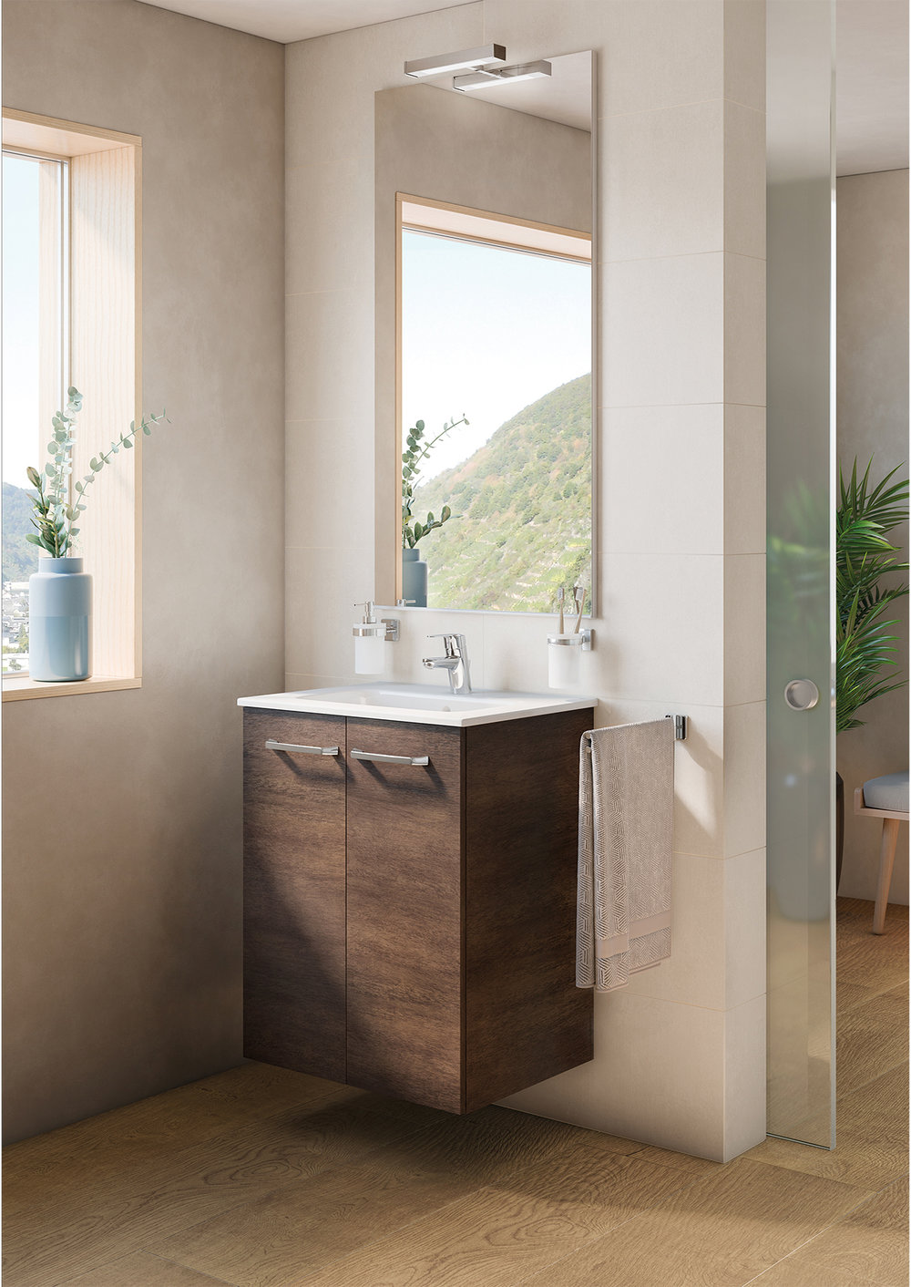 ASTER WALL-MOUNT VANITY WITH DOORS CEDAR WOOD VENEER - Finish: Textured MelamineDesign: Cedar Wood VeneerWall-mounted24