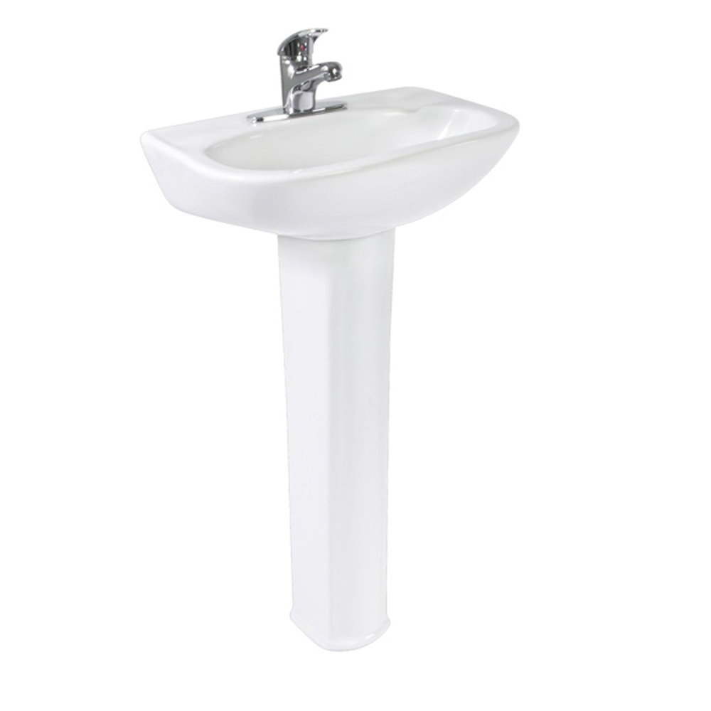 "GENOVA SINK AND PEDESTAL - WHITE  - Metalic support includedDrill at 4"" or mixerWith overflow"