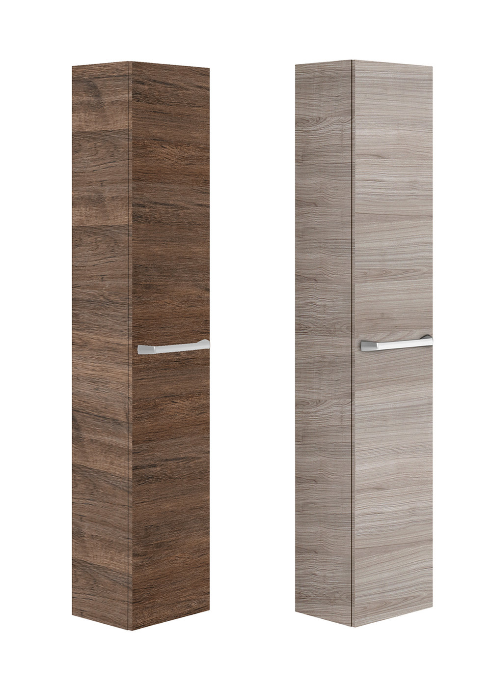 ASTER WALL-MOUNT LINEN CABINET - Finish: Textured MelamineDesign: Grey Wood Veneer or grey wood veneerSoft close hingesMetallic handles