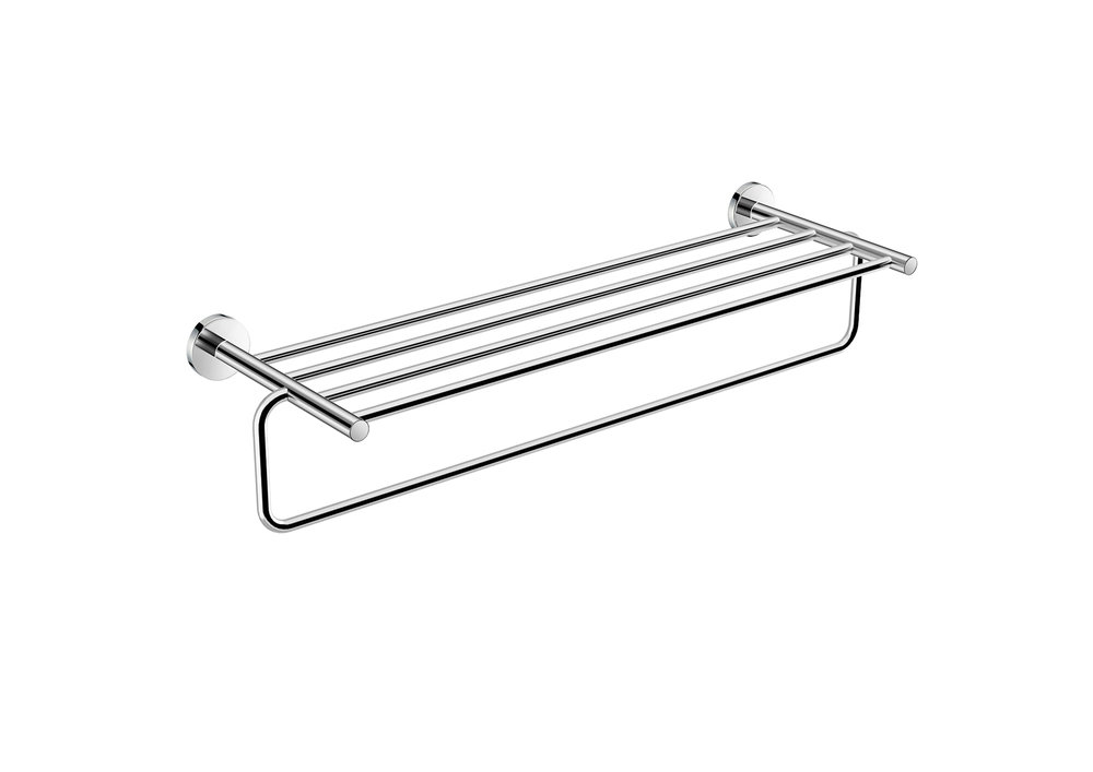 "BASIC COLLECTION TOWEL SHELF - $92.50 ea25"" X 8"" X 1""Hidden AttachmentsLifetime durability/10 year warrantyFinish: Glossy chrome#GDC050168-SA"