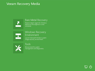 Veeam agent for windows recovery media screen