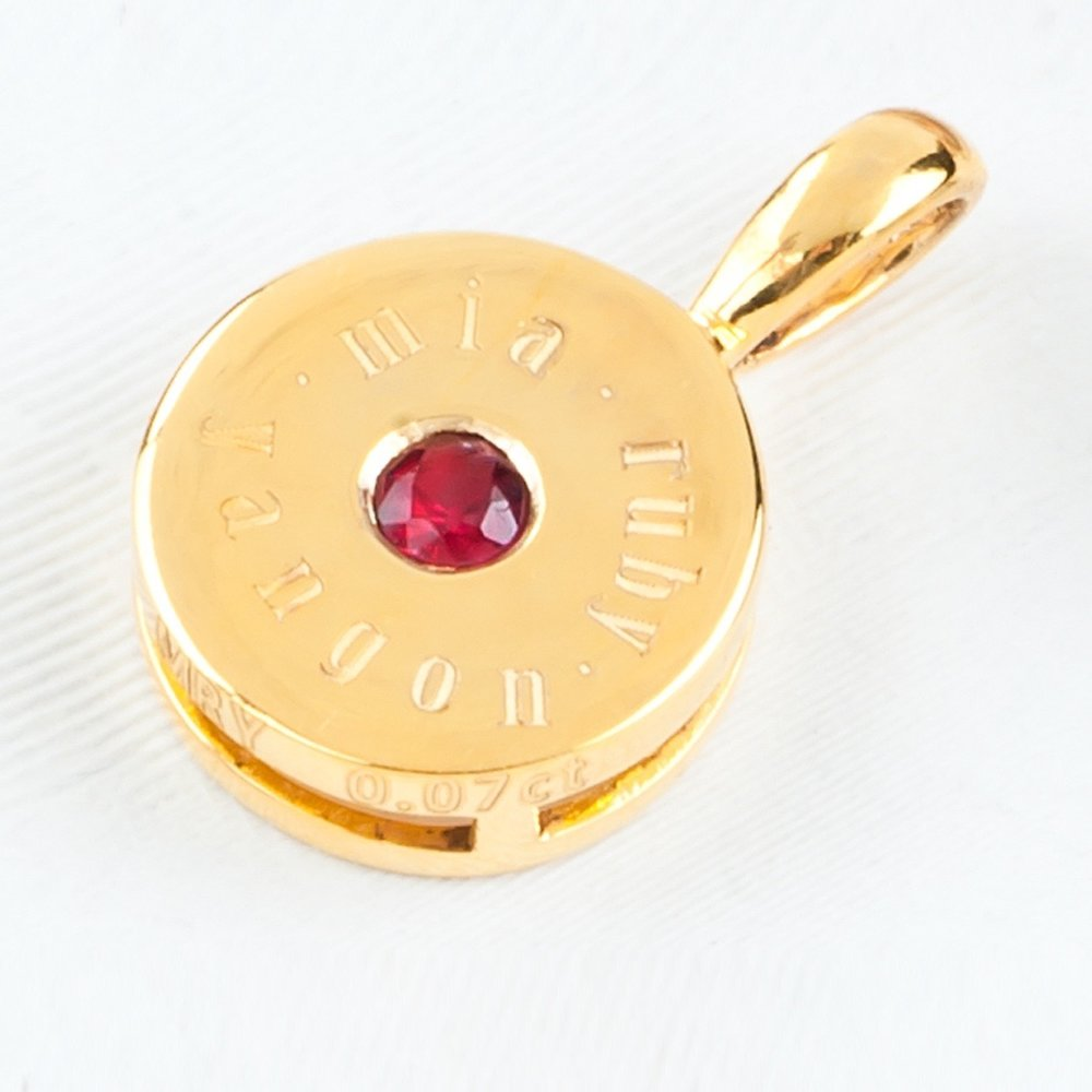 Gold Spinel Engraved Pendant