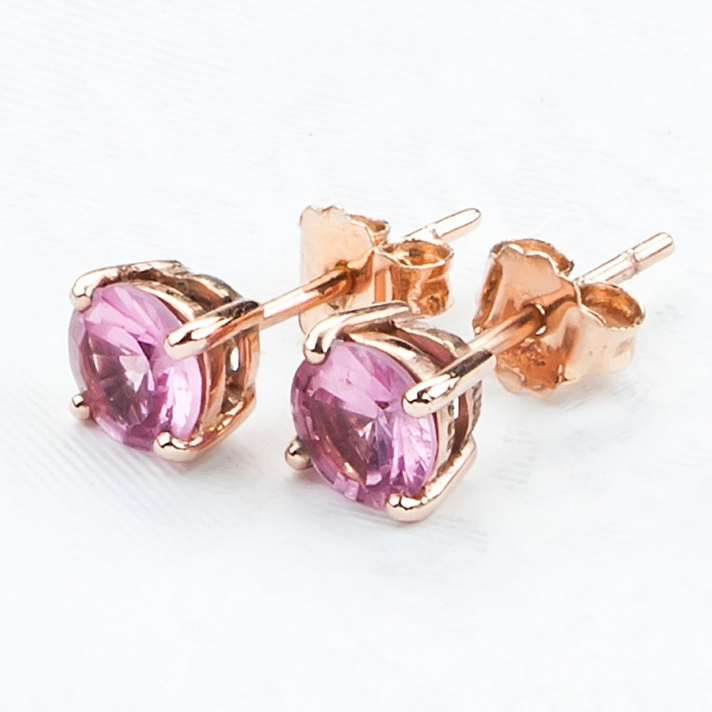 Gold Pink Spinel Earrings