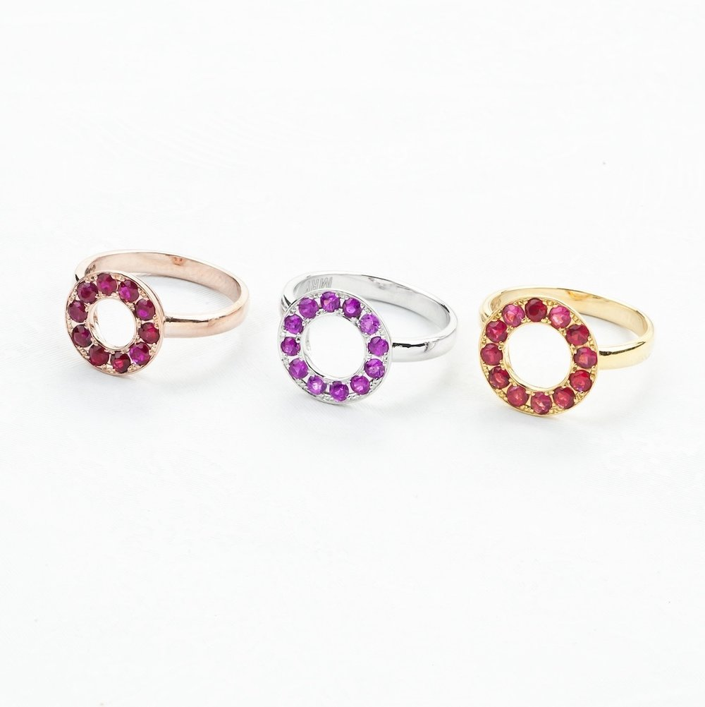 Gold Ruby, Sapphire and Spinel Halo Rings