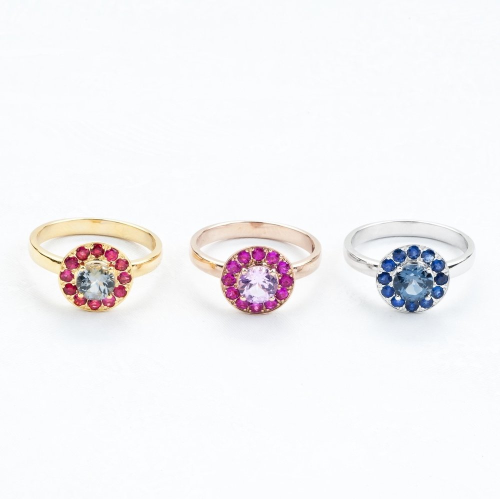 Gold Sapphire and Spinel Rings