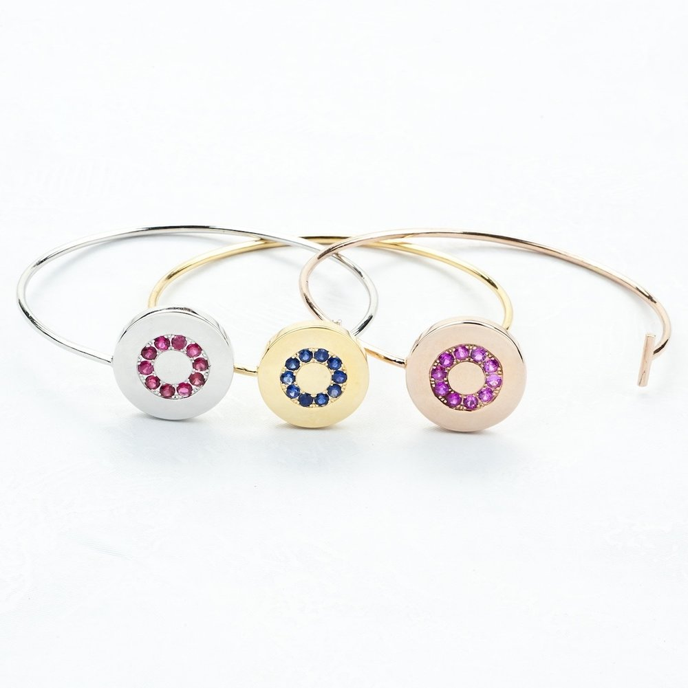 Gold Sapphire and Spinel Halo Bangles