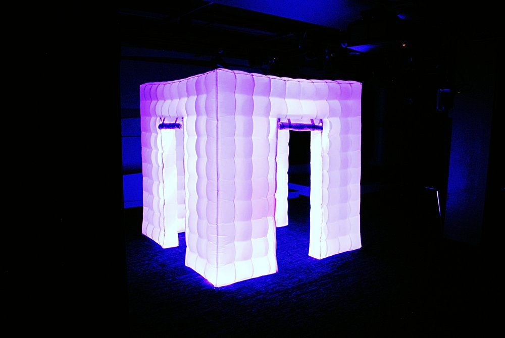 9x9 Inflatable LED Booth with 6 different light settings (Blue, Yellow, Red, Green, White, Purple and Orange)