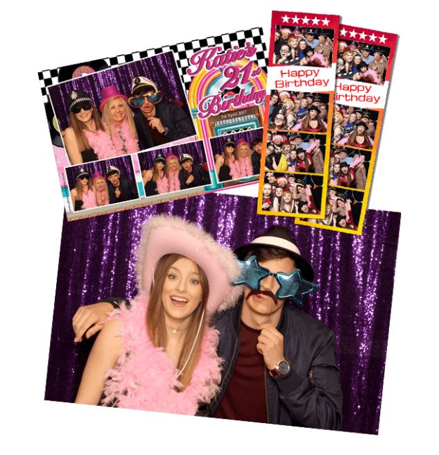 Booth prints are passport style either 2x6 (with 3-4 pics) or 6x4 with 3-4 pics with unlimited sessions, and can be personalised with your event name, date and your colour theme.