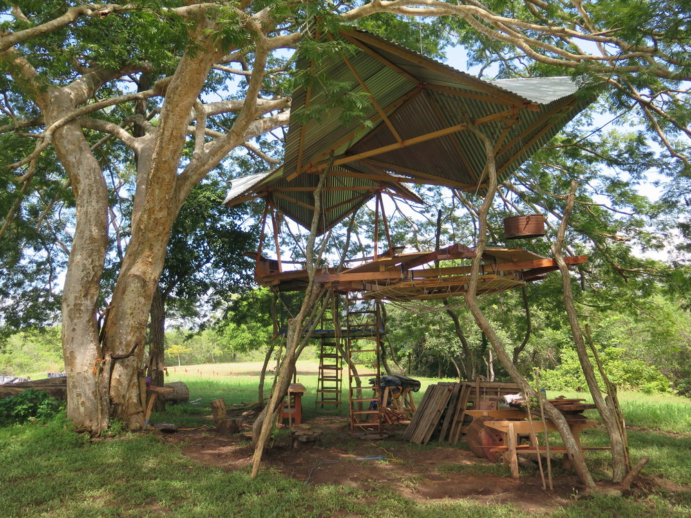 Location: Cocoroca, Punta Morales. Shipyard.  Our treehouse-office! Equipped with tables + chairs, lights + power charging stations and wifi, this is the perfect location for getting work done and holding meetings. Made of donated Cypress trees, our crew was able to install the entire platformss in just two weekends.