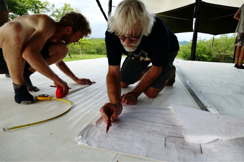 Harry & Bert drawing some of the lines of  Ceiba  on the Pacific side of the lofting floor.
