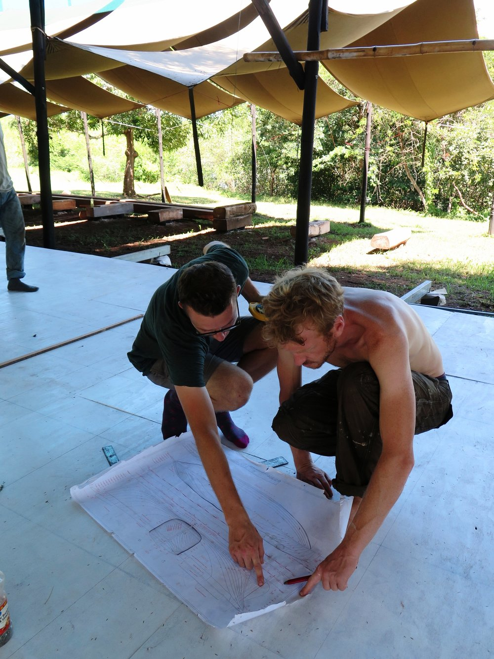 Prince Harry & Prince Charles checking out  Ceiba 's plans on the lofting floor. They decided to take a break from their royal duties in search of a more fulfilling, eco-shipbuilding lifestyle.