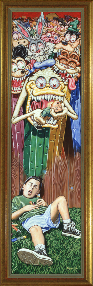 Pez Nightmare / acrylic on illustration board / 1993 / sold