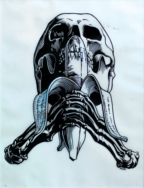 Skull and Banana / ink and white correction fluid on Dura-Lene / 1991 / sold