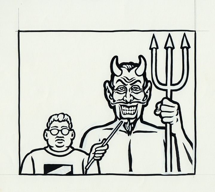 Kosick and the Devil / Ink and Goauche on Paper / 1995