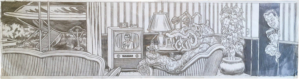 Alien Watching the Twilight Zone / pencil and marker on paper / 1994 / sold