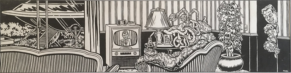 Alien Watching the Twilight Zone / ink and goauche on paper / 1994 / sold