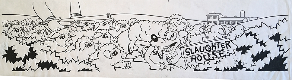 Wolf in Sheep's Clothing / ink and goauche on paper / 1995