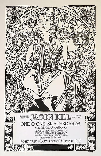 Mucha Poster / ink, goauche, and b & w printout / 1995