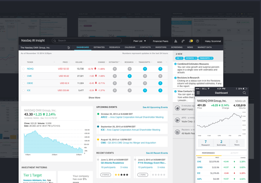 IR Insight  - Full redesigning of Nasdaq's Investor Relations Platform from the ground up. Two year project that revolutionized the way Nasdaq built and designed enterprise software. Role: Creative DirectionView Project