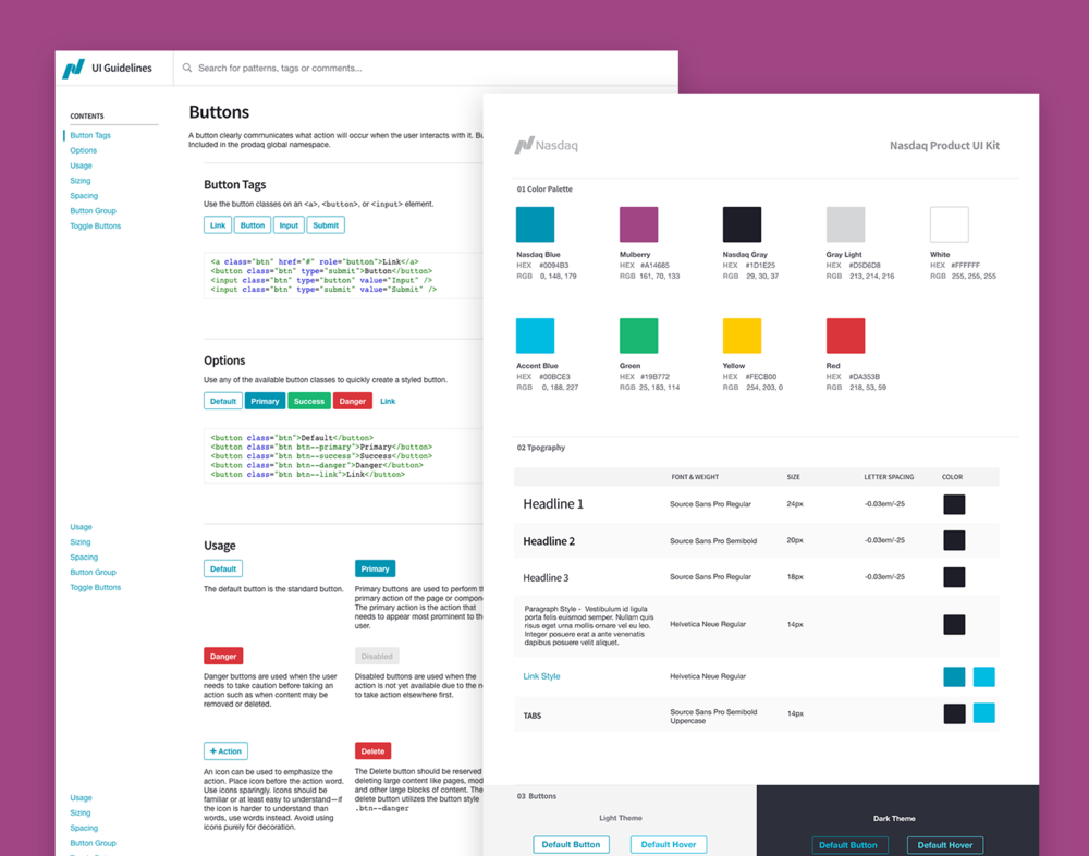 Nasdaq Product UI + Style Guide - Established the entire look and feel for all Nasdaq Products. Created the main hub for documenting and sharing all reusable styles, components and patterns used on the Nasdaq products.View Project