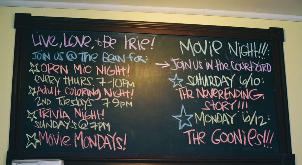 Irie Bean has a bunch of events that occur throughout the week.