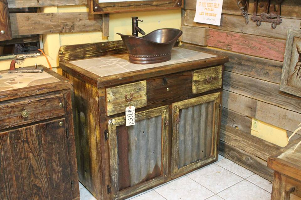 Rustic Distressed Vanity With Copper Sink