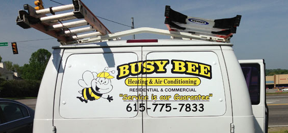 A Busy Bee HVAC Van - Rear Photo