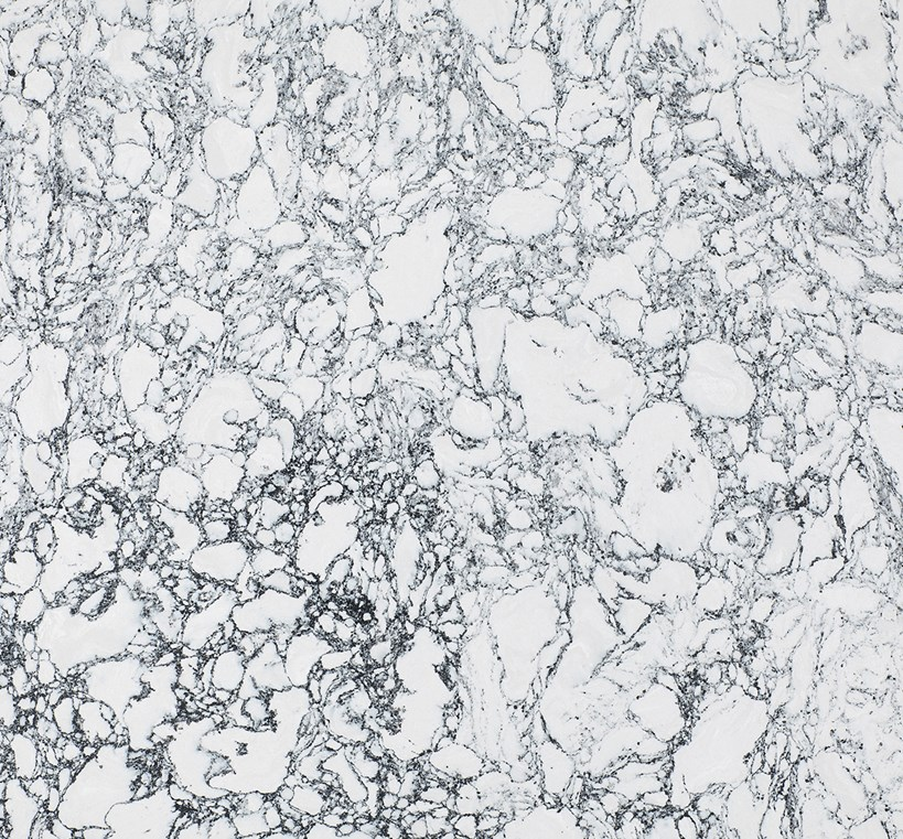 ROSE BAY    A white foundation is infused with robust black marble veining, creates a striking abstract effect where opposites definitely attract.